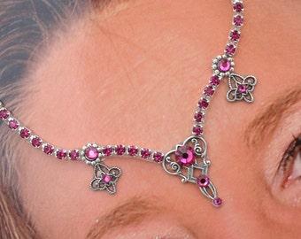In Place of a Bindi - Fuchsia Jeweled Goddess Forehead Adornment