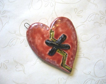 The Unusual - Mend A Broken Lopsided Heart Ceramic Pendant