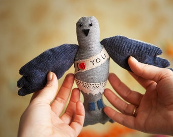 "Postal pigeon with the Love message ' I love you"", soft  art toy by Wassupbrothers.Made to order"