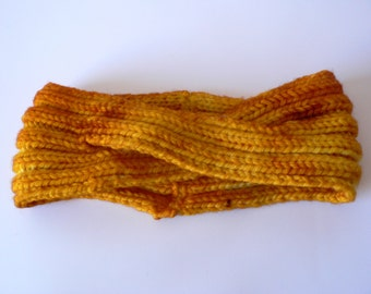 SALE Handknit Thick Superwash Merino Ear Warmers- Speckled Gold