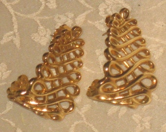 Vintage Gold Tone Zig Zag Style Earrings