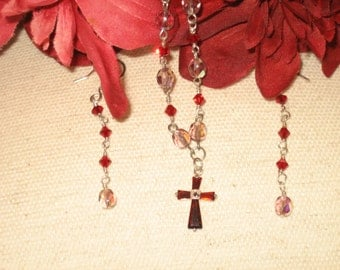 Garnet Birthstone Sterling & Crystal Cross Necklace and Earring Set