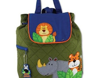 SHIPS NEXT DAY--Personalized Monogrammed Stephen Joseph Quilted Toddler Boy Zoo Backpack--Free Monogramming--