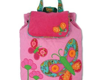 Personalized Monogrammed Stephen Joseph Signature Collection Quilted Pink Butterfly Backpack--Free Monogramming--