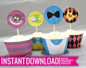 Cupcake Toppers & Wrappers - Wonderland - DIY Printable - Instant Download