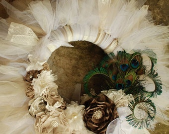 The Ophelia Wreath-  Victorian Lace and Vintage Style Shabby Chic Tutu Tulle Wreath- Neutrals and lace