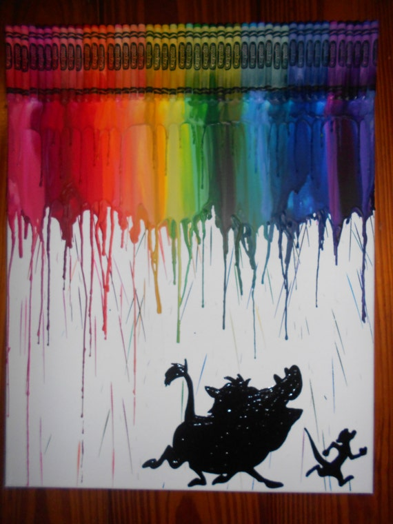 Inspired Timon Amp Pumbaa Melted Crayon Painting
