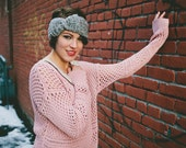 Ladies grey earwarmer, crocheted headband with bow,  Medium Grey,  Boho Bow Tie ear warmer