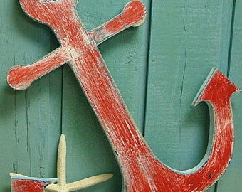 Anchor Sign Beach Lake House Cottage Nautical Boat Wall Art Decor by CastawaysHall