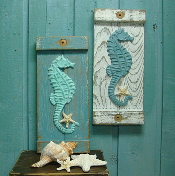 seahorse starfish sign wall art beach house decor by. Black Bedroom Furniture Sets. Home Design Ideas