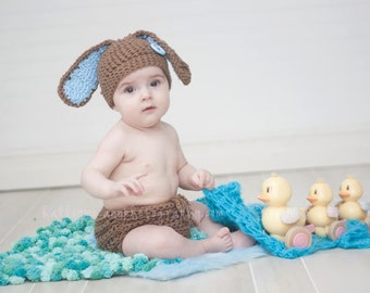 Spring Bunny Photography Set- hat and diaper cover