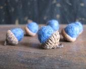 Felted wool acorns, set of 6, Blue Heather, light blue felt acorn, winter decor, winter baby shower, boy gender reveal, blue baby shower