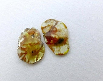 DiAMOND SLiCES. Faceted. MATCHeD PAiR. Natural. Red / Rust Patterns on Yellow Body. 2 pc. 1.60 cts. 10.5x7.8 and 11.5x7.7 mm (Dia262)
