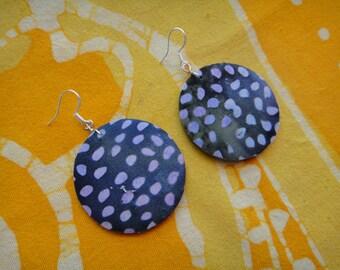 Purple Rain Spot Print Batik Fabric Earrings African Wax Tie Dye Hippie Boho
