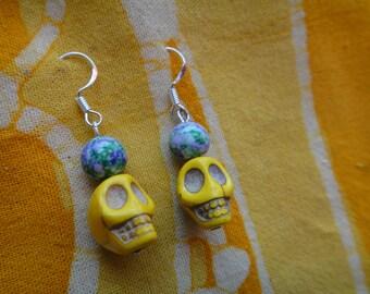 Yellow Sugar Skull Beaded Earrings Halloween Day of the Dead