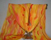 abstract  silk scarf hand painted