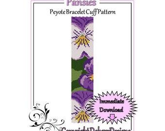 Bead Pattern Peyote(Bracelet Cuff)-Pansies