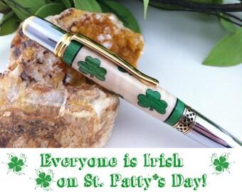 Saint Patrick's Day - Luck of the Irish Shamrock Wood Inlay Writing Pen - Free Engraving
