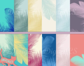 12 Feather digital paper pack Colorful feathers Printable paper Scrapbook paper 12x12 Commercial use Craft Paper