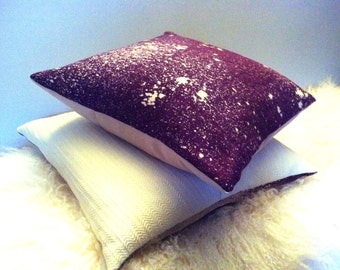 "Purple Galaxy Pillow Cover - 16 x 16"" Throw Pillow Cover - Hand Dyed Bleached Pillow - Decorative Pillow Cover - Deep Purple"