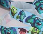 "Monsters Inc Cartoon Printed Grosgrain Ribbon / 7/8"" (22mm) width /DIY Hair bow / Head Band/Craft Supplies/Kids crafts"