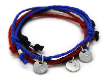 Success, Good Luck, Protection bracelet set- 3 silver pendants on colorful linen threads