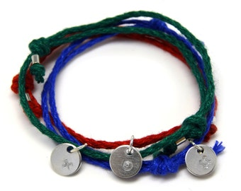 Good Luck, Success, Prosperity bracelet set - 3 silver pendants on colorful linen threads