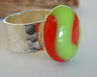 Statement Ring Fused Glass Lime Green and Red on Silver