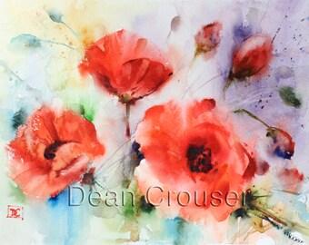 POPPY Flower Watercolor Print by Dean Crouser