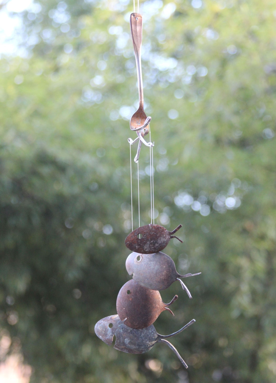 Rustic spoon fish wind chimes silver flatware art barn metal for Fish wind chimes