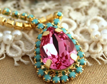 Crystal turquoise pink  Swarovski necklace,Bridal necklace, wedding jewelry,bridesmaid jewelry - Plated 14 k gold