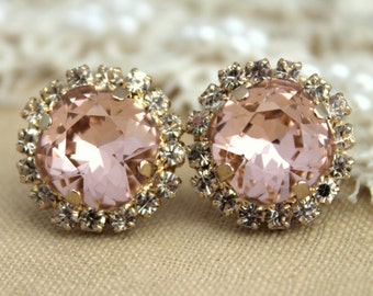 Blush Earrings,Bridal Blush Earrings,Rose Quartz Swarovski Studs,Bridal Blush Earrings,Rose Quartz Earrings,Bridal Blush Crystal Earrings