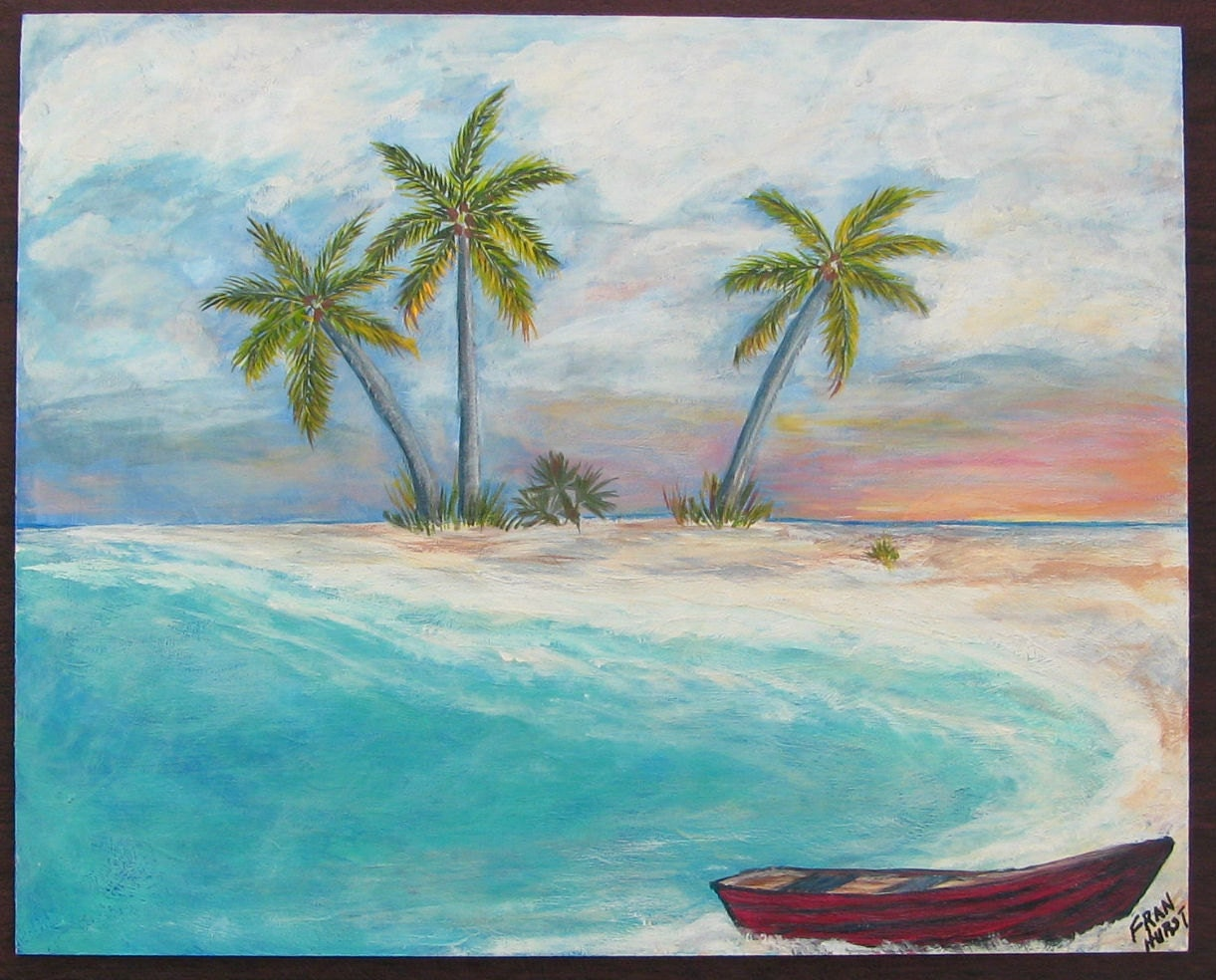 Tropical Island Beach Original Acrylic Painting Coastal Art