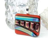The Path Less Traveled -- Fused Glass Pendant, Dichroic Glass Pendant, Modern, Abstract, Red Multicolored (Item 10117-P)