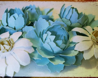 Peony and Chamomile-paper flowers- set of 8 - blue and white