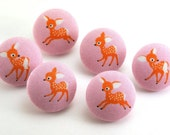 Darling Deer Thumbtacks / Magnet  / Push Pin On Pink / Japanese Fabric  / Button Suplies / DIY Crafts Supplies / Ponytail Holder  Tacks 61