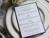 Navy and hot pink wedding invitation, blue pocketfold invitation, swirl invitation, custom colors, custom sample