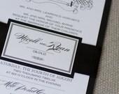 Black and white wedding invitation, swirl invitation, monogram inviite, custom colors, custom sample