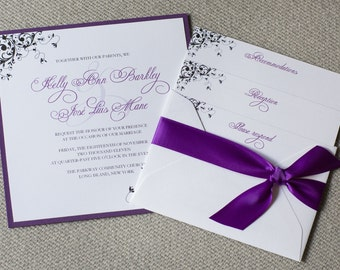 Square wedding invitation, purple wedding invite, swirly design, custom colors, custom sample