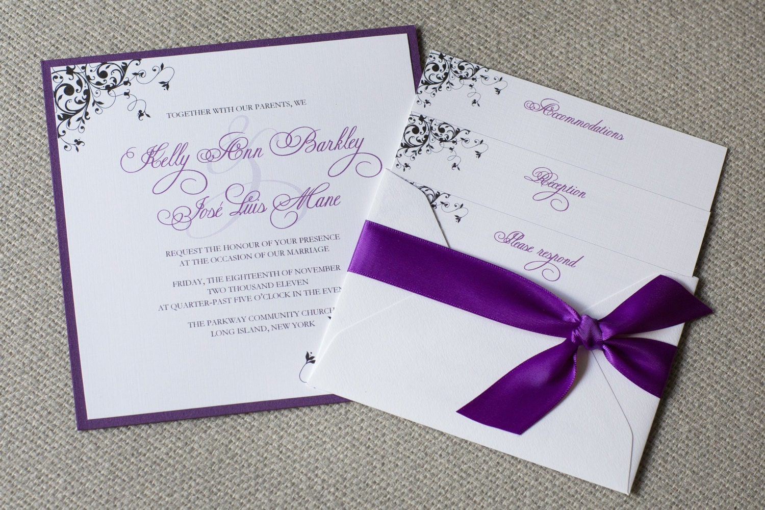 Wedding Invitations With Purple Ribbon: Square Wedding Invitations Purple Wedding Invitations