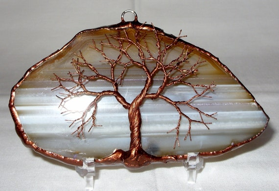 Copper Wire Tree Of Life Metal Wall Art Sculpture On A Beige