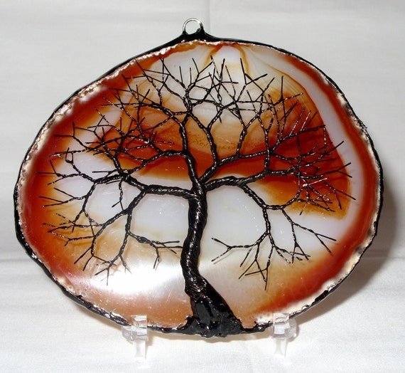Black Wire Tree Of Life Metal Wall Art Sculpture On A Orange