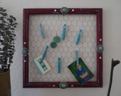 Red and Turquoise Jewlery Organizer From Repurposed Wood Frame and Chickenwire