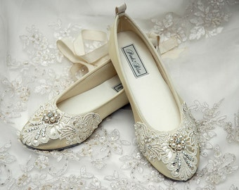 Wedding Shoes Womens Bridal Shoes Ballet Flats Womens Wedding Vintage Lace Embellished Womens Shoes Elizabeth Wedding Bridal Shoes- PBT-0181