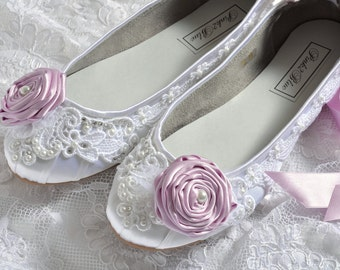 Wedding Shoes - Ballet Flats, Vintage Lace and Lilac Rosettes, Swarovski Crystals and Pearls, The Belle- Women's Bridal Shoes