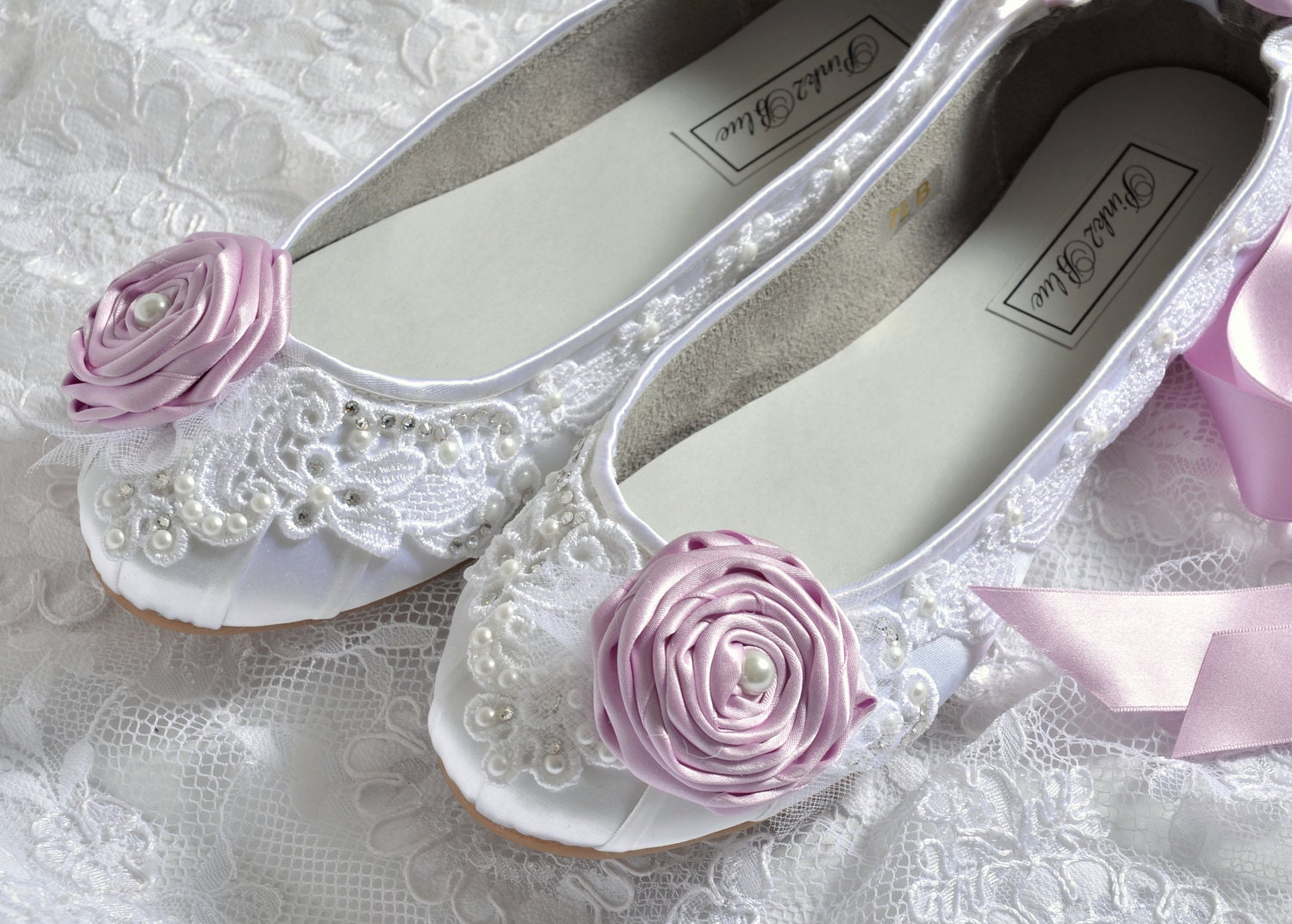 Wedding Shoes Ballet Flats Vintage Lace And Lilac Rosettes