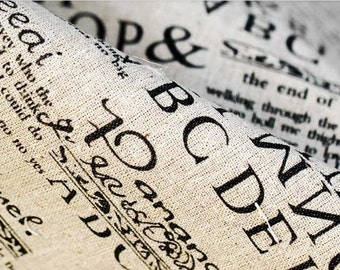 Cotton Linen Fabric Cloth -DIY Cloth Art Manual Cloth -Newspaper In English 58x19 Inches