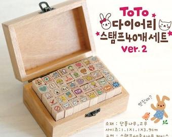 40 Kinds Korea DIY Wooden Box Rubber Stamp-Rabbit Stamp