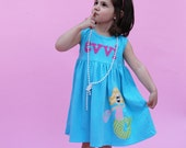 Mermaid Dress - Spring Dress- Personalized Dress- You Choose Dress Color and Sleeve Length