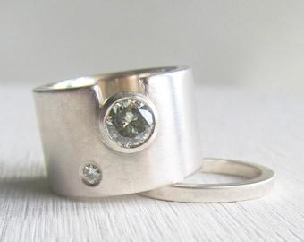 engagement ring wedding band set, wide wedding band, moissanite engagement ring, diamond engagement ring, women's wedding band, women's ring